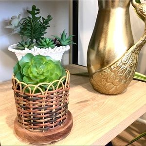 VINTAGE Wicker Rattan Small Woven Plant Holder